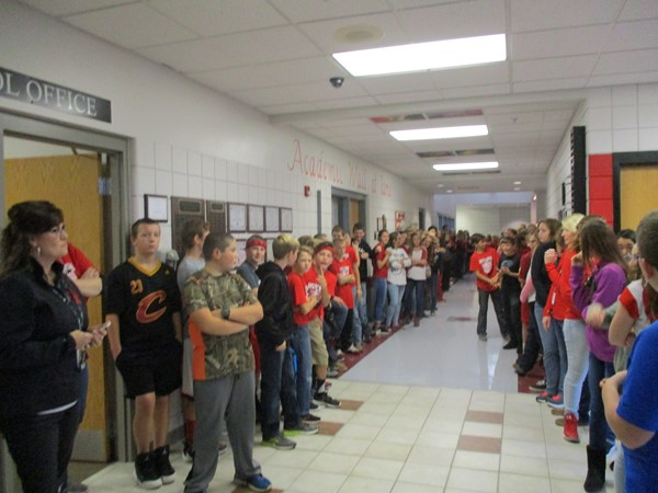 Students lining the halls